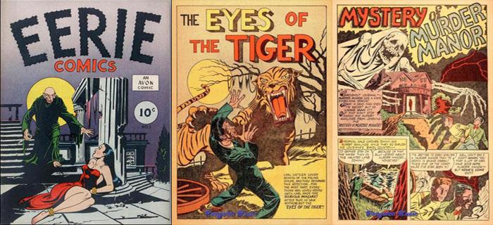 Capa e página de abertura de duas histórias de Eerie #01.