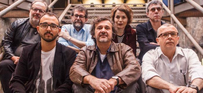 Em cima, da esquerda para a direita, o diretor José Eduardo Belmonte, os roteiristas Marçal Aquino, Carolina Kotscho e Bráulio Mantovani. Na fileira abaixo, o roteirista Raphael Montes, o diretor José Alvarenga Jr. e o roteirista Fernando Bonassi (Foto: Globo/Artur Meninea)