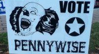 Alguém está fazendo uma campanha para incentivar os moradores de Bangor a votarem no palhaço de It