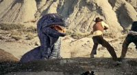 """Divertida combinação de western e dinossauros, com efeitos """"stop motion"""" do mestre Ray Harryhausen"""