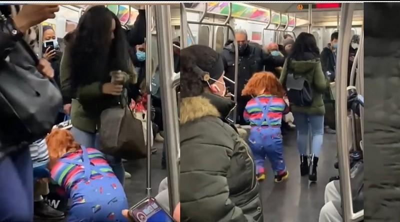 Chucky ataca no metrô de Nova York pessoas que não usam máscaras!